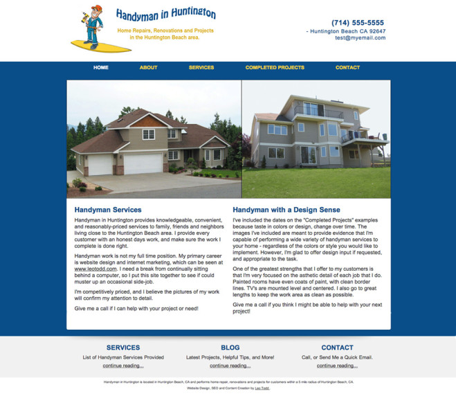 Website Design Example for Handyman Website - Home Page